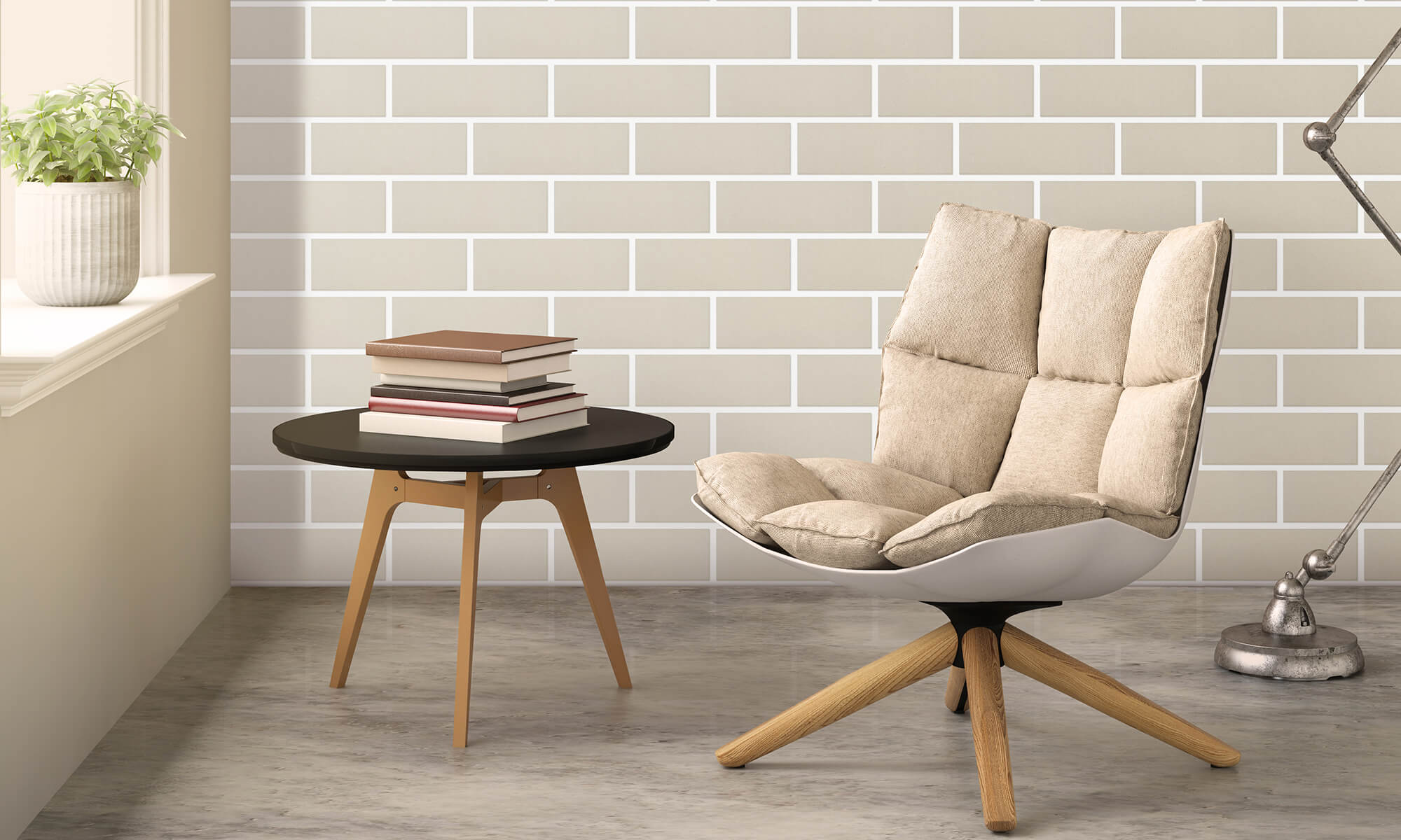 Estilo Altas light grey Spanish clay face brick wall with chair and window sill